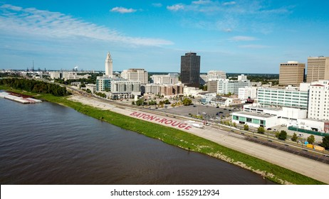 Drone pic on the Baton Rouge riverfront.