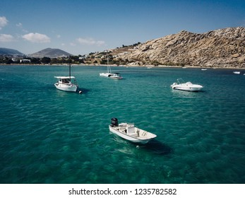 A drone picture of boats in Paros island, Greece.