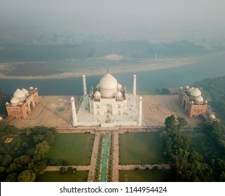 Drone point of view of Taj Mahal in Agra India under morning haze