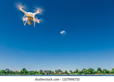 drone quad copter on over the beach