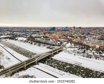 Poznań from drone - sankt Roch bridge odra river - Shutterstock ID 1923740282