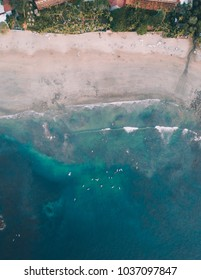 Drone shot above the coast of Costa Rica