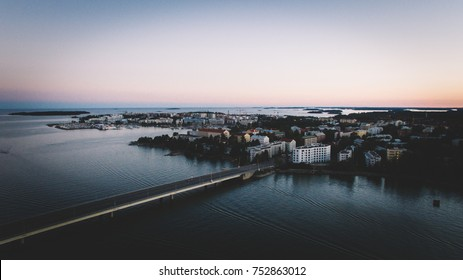 drone shot from above sunset espoo finland