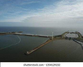 Drone shot of the Afsluitdijk in the Netherlands