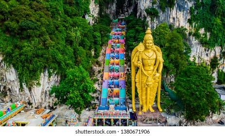 Drone shot of the awesome and colorful stairs of the Batu Caves next to Kuala Lumpur, Malaysia.