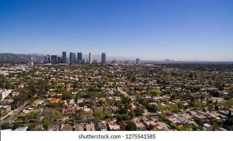 A drone shot of Century City, California.