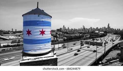 Drone Shot of Chicago Water Tank