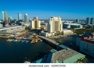 Drone shot of Downtown Tampa Riverfront