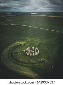 Drone shot of the historical landmark, Stonehenge.