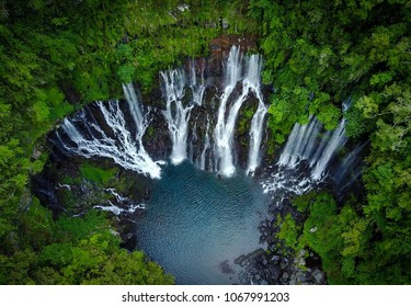 Drone shot of the Langevin Waterfall in Reunion Island.