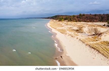 Drone shot of Michigan beach near ludington