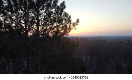 Drone shot of Michigans wilderness