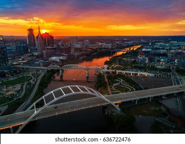drone shot of Nashville tn