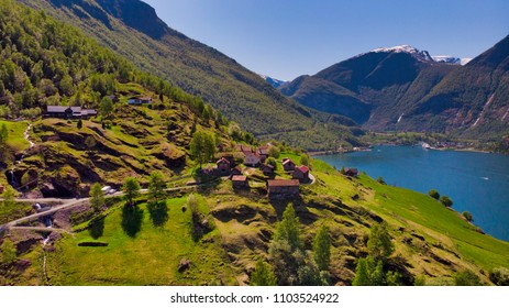 Drone Shot at Otternes and Flaam in Aurland, Norway