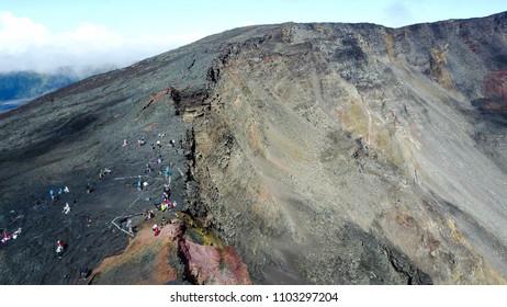 Drone shot of the Piton de la Fournaise, Reunion Island