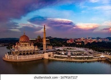 Drone shot of Putra Mosque in Putrajaya, Malaysia.