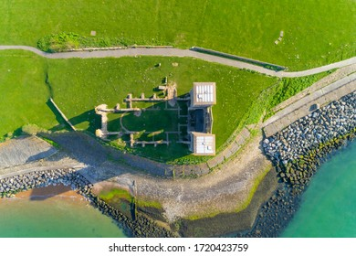 Drone shot of Reculver Towers on the North Kent Coast