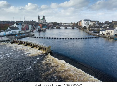 Drone shot of Shannon's river falls in Athlone city, Ireland