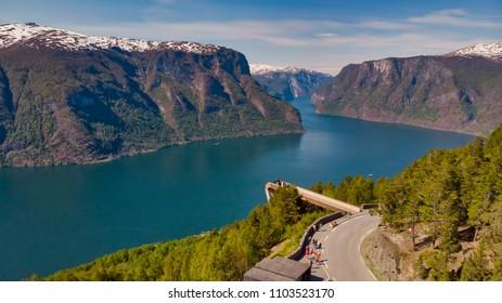 Drone shot of Stegastein viewpoint in Aurland Norway