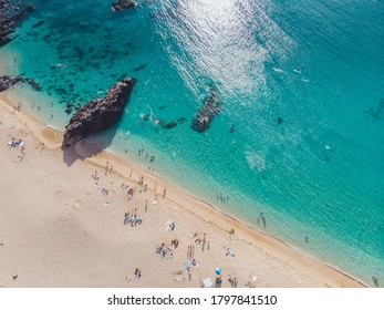 Drone shot of Waimea Bay. Oahu in the Summer