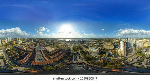 Drone spherical image Downtown West Palm Beach Florida USA