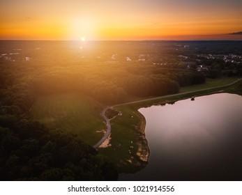 Drone Sunflare Landscape