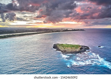 drone sunset over Cook Island South of Gold Coast, Queensland, Australia