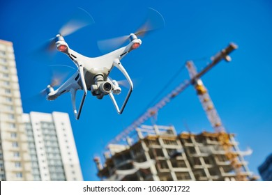 drone survellance over construction area. building site inspection.