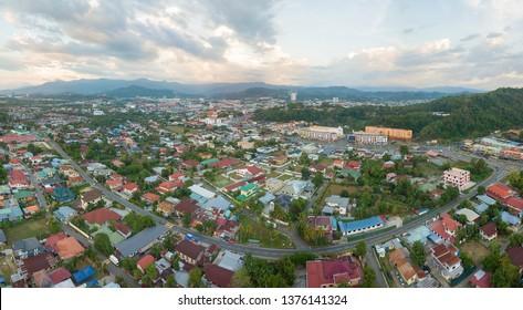 Drone top angle view of dense housing area in Kota Kinabalu Sabah Malaysia Borneo.