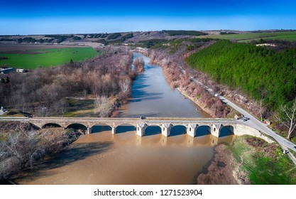 Drone top view The bridge over Yantra River in Byala, Ruse Province, Bulgaria built in 1867 by Kolyo Ficheto