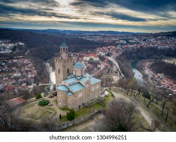 Drone top view on Patriarchal Cathedral of the Holy Ascension of God in Medieval Stronghold Tsarevets,Veliko Tarnovo. Bulgaria
