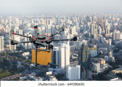Drone transport  flying with cardboard box above city, futuristic delivery concept