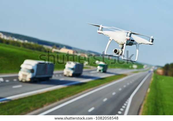 Drone Transportation Drone Camera Controls Highway Stock