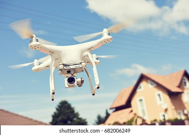 drone usage. private property protection with quadrocopter or real estate construction check