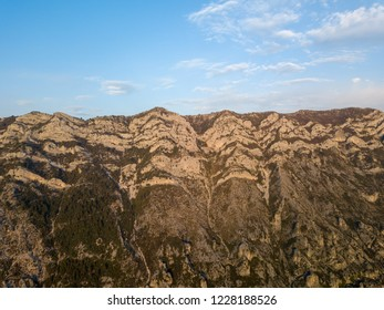 Drone view of Albanian mountains in Kruja, Albania