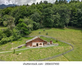 Drone view at the alp chalet of Heidi village over Maienfeld on the Swiss alps