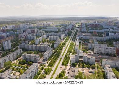Drone view of Avtostroitelei street in Togliatti city