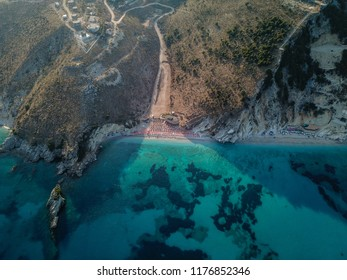 Drone view of a beautiful beach in the Albanian Riviera