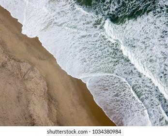 Drone view of the beautiful Portuguese beach of Costa Nova do Prado - Aveiro
