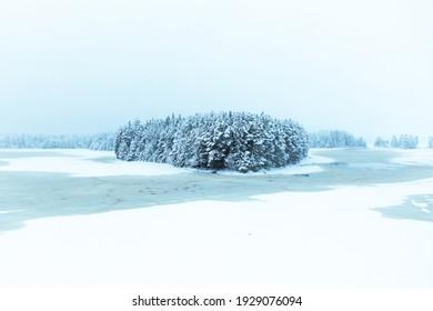 Drone view of beautiful swedish winter landscape