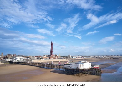 Drone view of Blackpool with north pier and Blackpool Tower