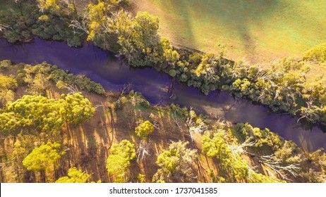 Drone view of Blackwood River in Nannup, Australia