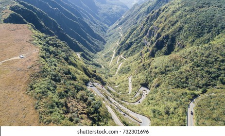 "Drone view of brazilian famous road ""Serra do Rio do Rastro"""