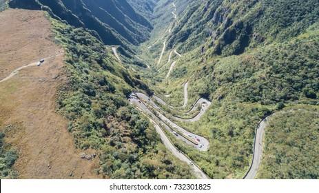 """Drone view of brazilian famous road """"Serra do Rio do Rastro"""""""