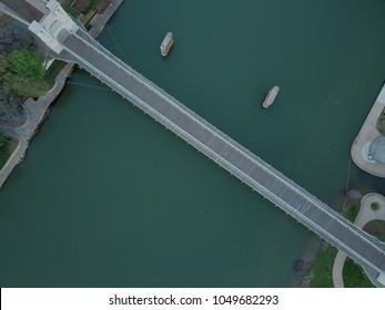 Drone view of a bridge over the Brazos River in Waco Texas