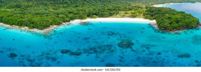 Drone view Champagne Beach, Vanuatu, Espiritu Santo island, near Luganville,  South Pacific