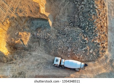 Drone view of a concrete truck on a construction site