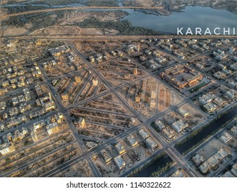 drone view of daimond shaped streets in karachi