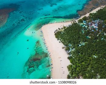 Drone View of Daku Island, Siargao Philippines; Aerial View of Daku Island, Siargao Philippines