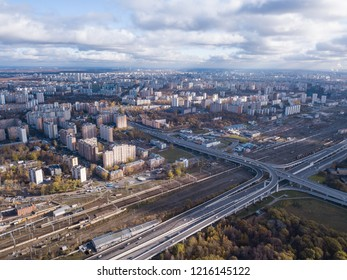 Drone view of Degunino Moscow district with modern road infrustructure
